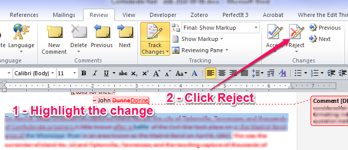 Finding Word's Reject and Move to Next button.
